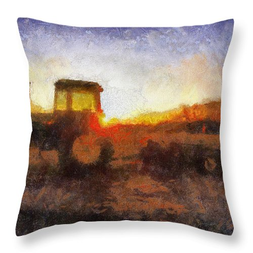 Tractor Throw Pillow featuring the photograph John Deere Photo Art 06 by Thomas Woolworth
