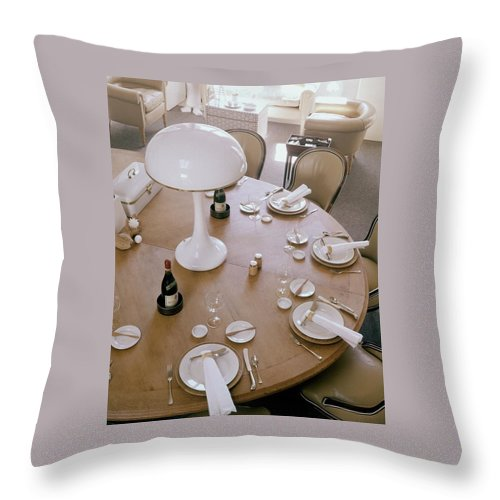 Home Throw Pillow featuring the photograph John Dickinson's Dining Table by Fred Lyon