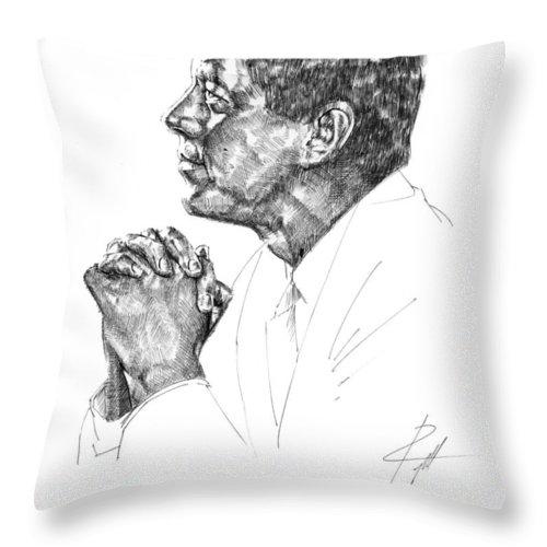 John F Kennedy Throw Pillow featuring the drawing John F. Kennedy by Gerald Piggott