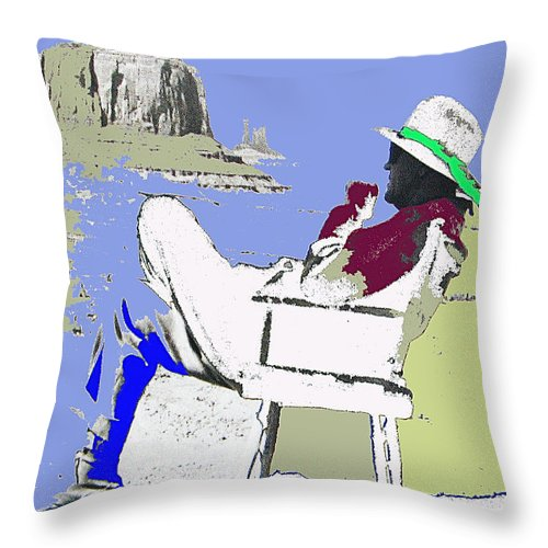 John Ford The Searchers Set Monument Valley Arizona 1955 Throw Pillow featuring the photograph John Ford The Searchers Set Monument Valley Arizona 1955-2013 by David Lee Guss