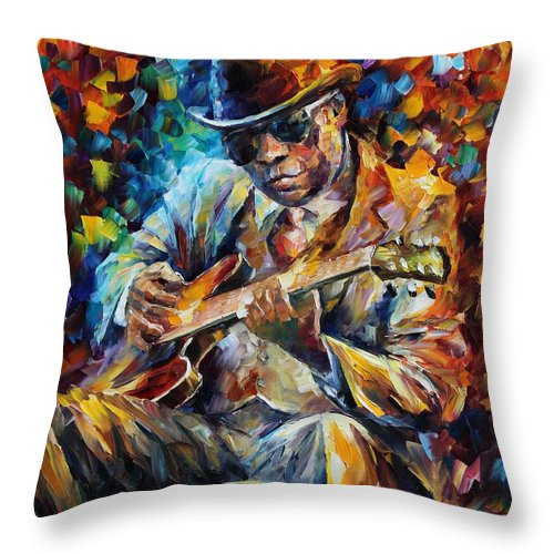 Leonid Afremov Throw Pillow featuring the painting John Lee Hooker - Palette Knife Oil Painting On Canvas By Leonid Afremov by Leonid Afremov
