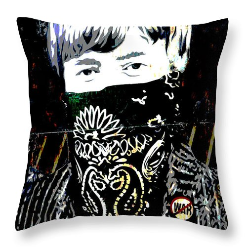 Banksy Throw Pillow featuring the photograph John Lennon wearing a face mask by RicardMN Photography
