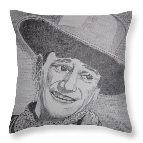 John Wayne Throw Pillow featuring the painting John Wayne by Kathy Marrs Chandler