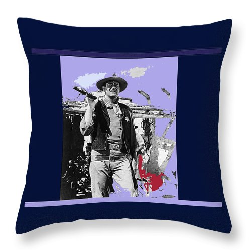 Rio Bravo Publicity Photo Old Tucson Arizona John Wayne Red River Howard Hawks Jules Furthman Ward Bond Gary Cooper Color Added Throw Pillow featuring the photograph John Wayne Rio Bravo Publicity Photo 1959 Old Tucson Arizona by David Lee Guss