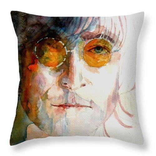 John Lennon Throw Pillow featuring the painting John Winston Lennon by Paul Lovering