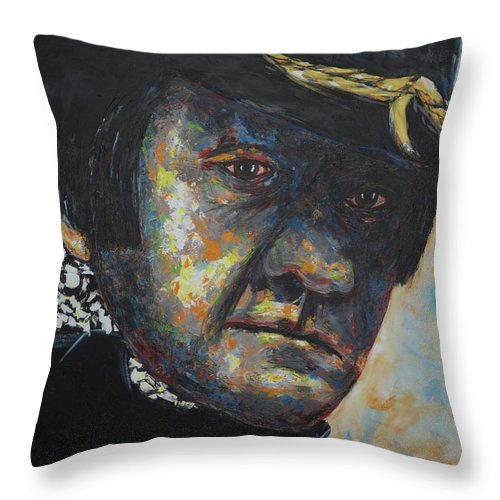Johnny Cast Throw Pillow featuring the painting Johnny Cash by Joyce Sherwin