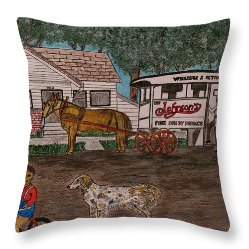 Johnson Creamery Throw Pillow featuring the painting Johnsons Milk Wagon Pulled By A Horse by Kathy Marrs Chandler