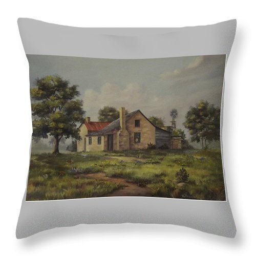 Old House Throw Pillow featuring the painting Johnston State Park by Wanda Dansereau