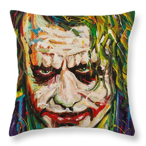 Joker Throw Pillow featuring the painting Joker by Michael Wardle
