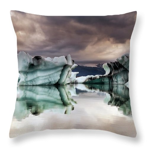 Scenics Throw Pillow featuring the photograph Jokulsarlon, Iceland by Gunnar Örn Árnason