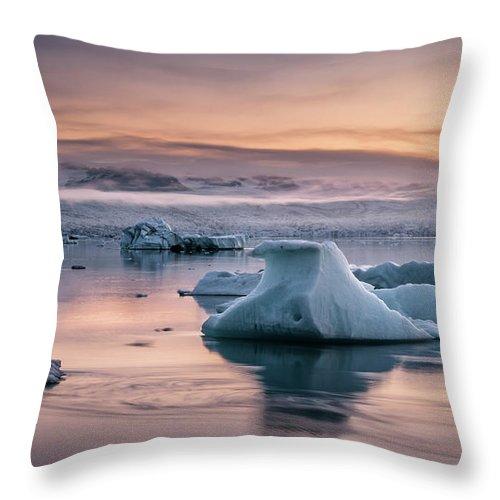 Scenics Throw Pillow featuring the photograph Jokulsarlon Sunrise by Andreas Wonisch