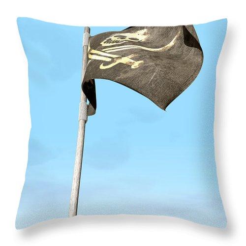 Pirate Throw Pillow featuring the digital art Jolly Roger Pirate Flag Far by Allan Swart