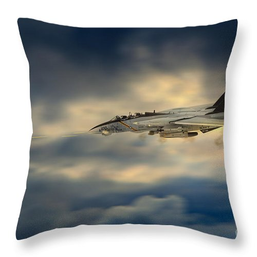 F 14 Throw Pillow featuring the digital art Jolly Strafe by J Biggadike