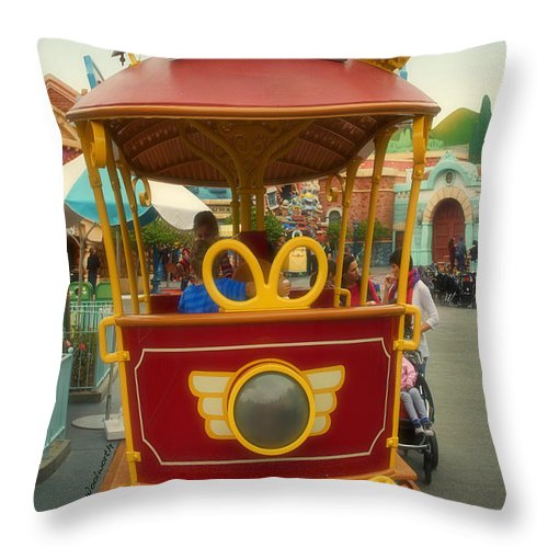 Toontown Disney Land Throw Pillow featuring the photograph Jolly Trolley Disneyland Toon Town by Thomas Woolworth