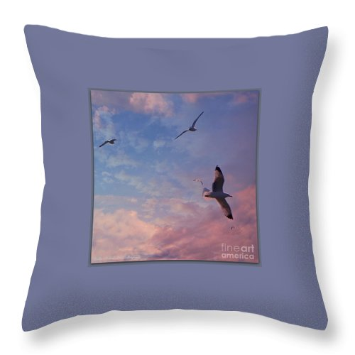 Jonathan Livingston Seagull Throw Pillow featuring the photograph Jonathan Fly Free by Bobbee Rickard