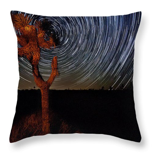 Big Sky Throw Pillow featuring the photograph Joshua Tree Star Trails by Peter Tellone
