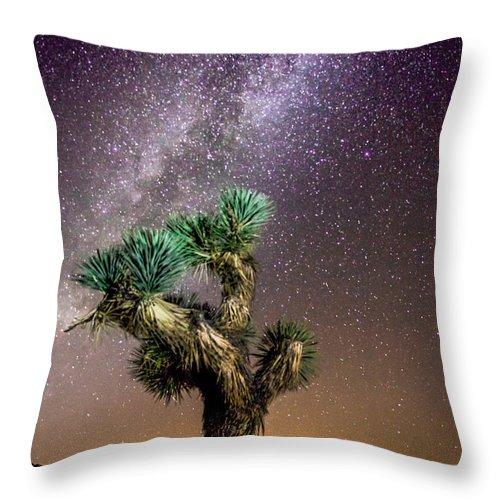 Joshua Tree Throw Pillow featuring the photograph Joshua Tree Vs The Milky Way by Robert Aycock