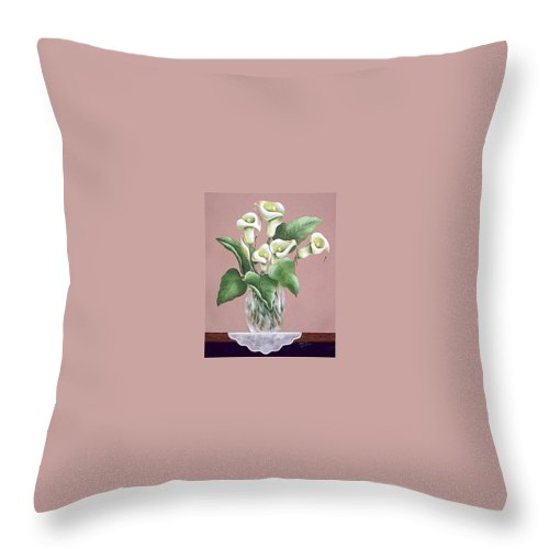 Oil Throw Pillow featuring the painting Josies Lilies by Ruth Bares