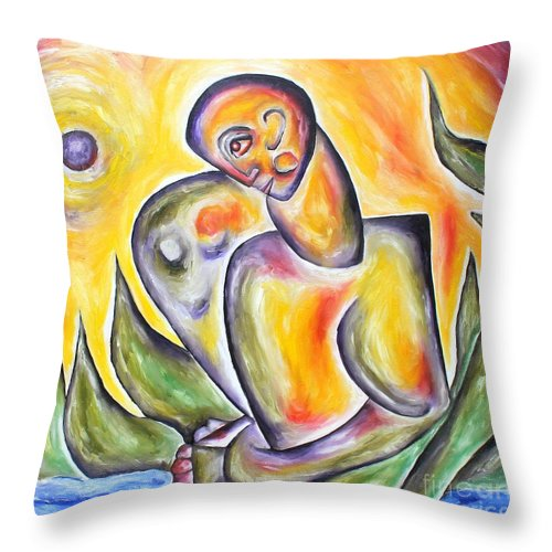 Cubism Throw Pillow featuring the painting Journey by Leona Tobin