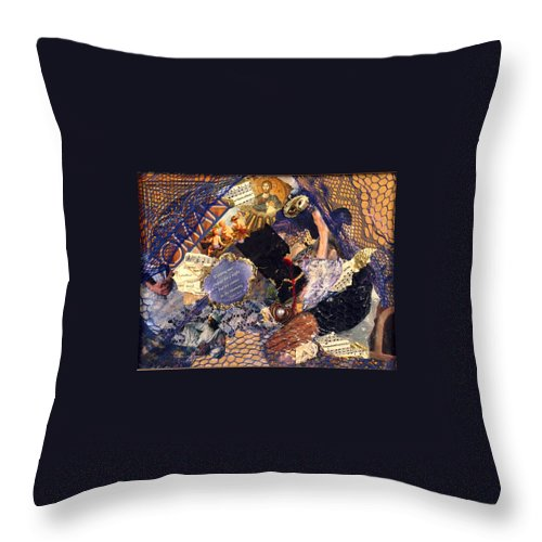 Collage Throw Pillow featuring the mixed media Joy In The Morning by Gail Kirtz