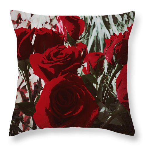 Rose Throw Pillow featuring the photograph Joyful Roses  by Ines Ganteaume