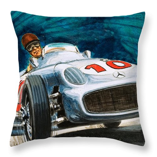 Mercedes Benz Throw Pillow featuring the painting Juan Manuel Fangio Driving A Mercedes-benz by English School