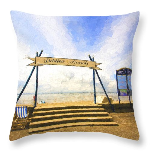 Jubilee Beach Throw Pillow featuring the photograph Jubilee Beach Southend On Sea by Sheila Smart Fine Art Photography