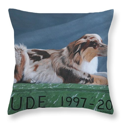 Australian Shepherd Throw Pillow featuring the painting Jude's Farewell by Michael Putnam