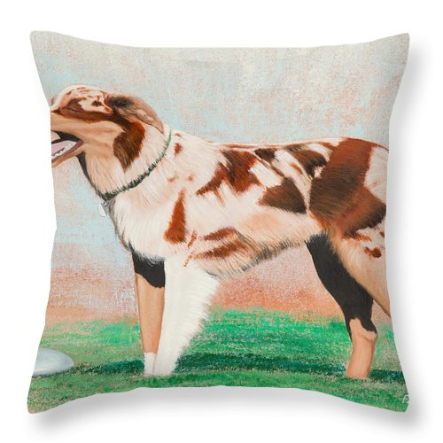 Dog Throw Pillow featuring the painting Jude's Joy by Michael Putnam