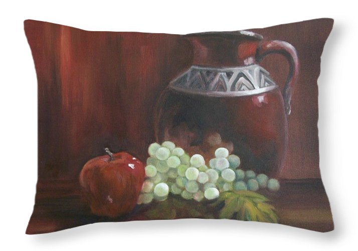 Red Throw Pillow featuring the painting Jug With Frosty Grapes by Ellen Ebert