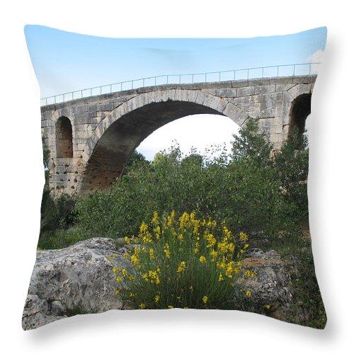 Roman Stonebridge Throw Pillow featuring the photograph Julian Bridge Provence by Christiane Schulze Art And Photography