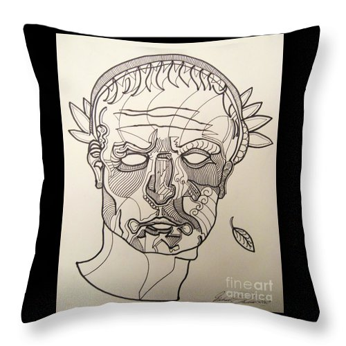 Michael Kulick Throw Pillow featuring the drawing Julius Caesar by Michael Kulick