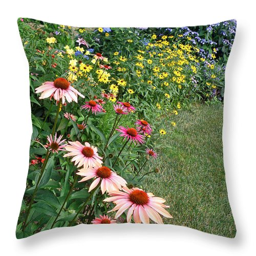 Flowers Throw Pillow featuring the photograph July Garden by Jean Hall