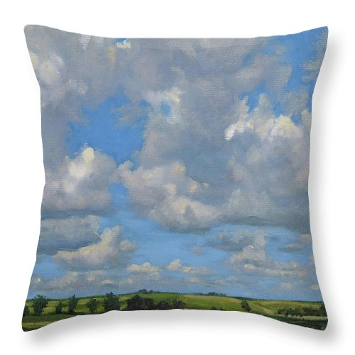 Summer Landscape Throw Pillow featuring the painting July In The Valley by Bruce Morrison