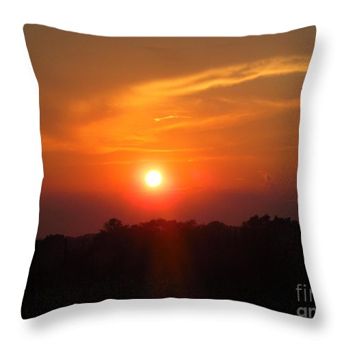 Sun Throw Pillow featuring the photograph July Sunset by Tina M Wenger