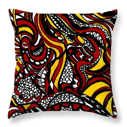 Bold Throw Pillow featuring the mixed media Jump Into My Fire by Wendie Busig-Kohn