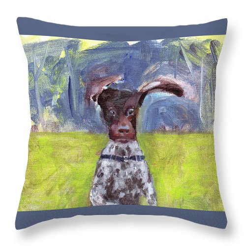 Dog Throw Pillow featuring the painting Jump by Kazumi Whitemoon