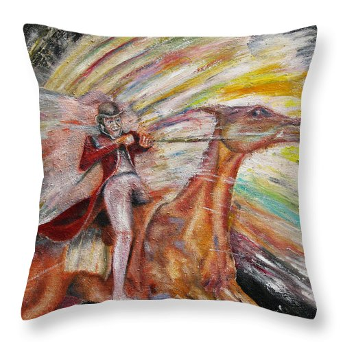 Horses Throw Pillow featuring the painting Jump The Rainbow by Tom Conway
