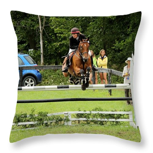 Horse Throw Pillow featuring the photograph Jumping Eventer by Janice Byer