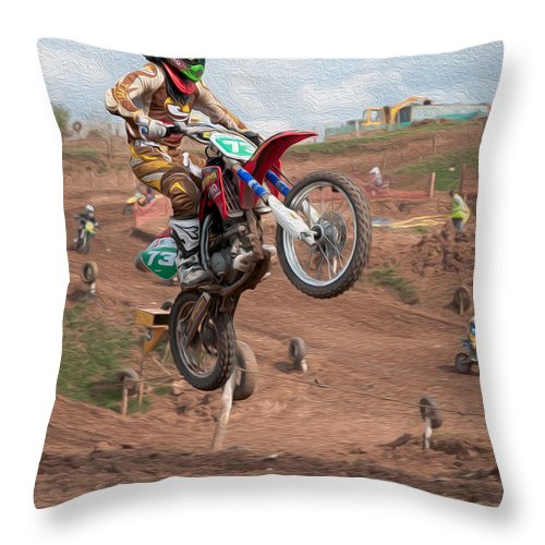 Motorcross Throw Pillow featuring the digital art Jumping High by Roy Pedersen