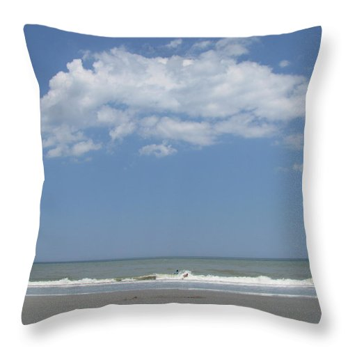 Landscape Throw Pillow featuring the photograph Jumping Waves by Ellen Meakin