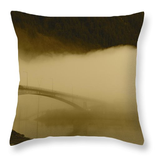 Juneau Throw Pillow featuring the photograph Juneau - Douglas Bridge by Cathy Mahnke
