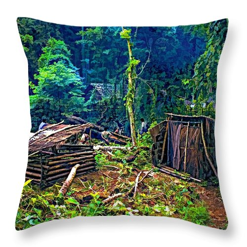 Jungle Throw Pillow featuring the photograph Jungle Homestead by Steve Harrington