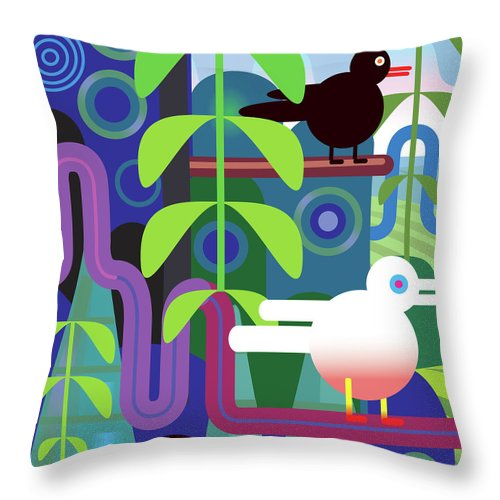 Pets Throw Pillow featuring the digital art Jungle Vector Illustration With Birds by Charles Harker