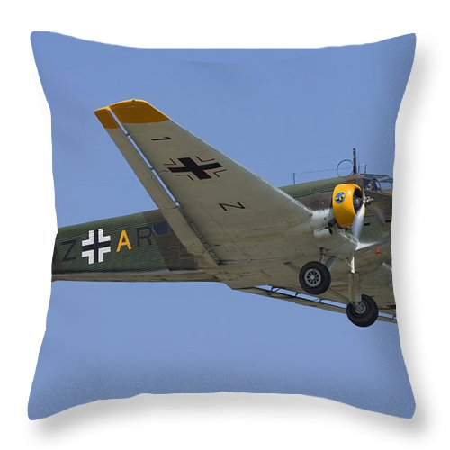 3scape Throw Pillow featuring the photograph Junkers Ju-52 by Adam Romanowicz