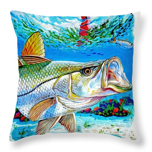Snook Throw Pillow featuring the painting Jupiter Snook by Carey Chen