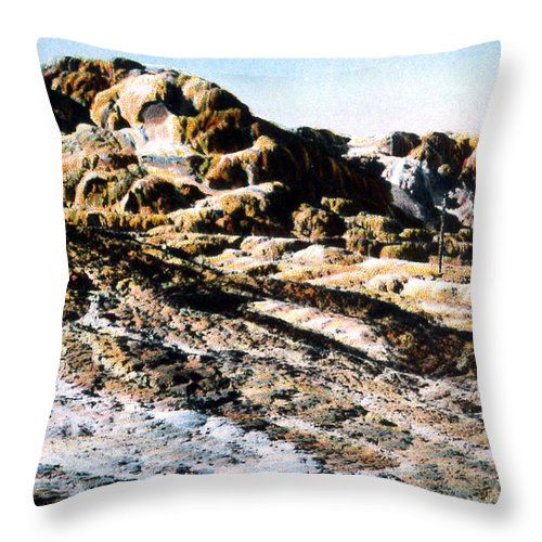 History Throw Pillow featuring the photograph Jupiter Terrace Yellowstone Np 1928 by NPS Photo Asahel Curtis