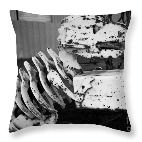 Dinosaur Throw Pillow featuring the photograph Jurassic Dinosaur Mailbox by Gary Whitton