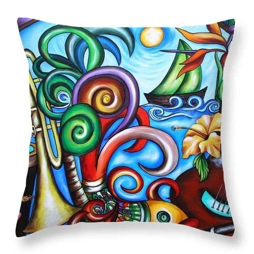 Cuba Throw Pillow featuring the painting Just A Day In Paradise by Annie Maxwell
