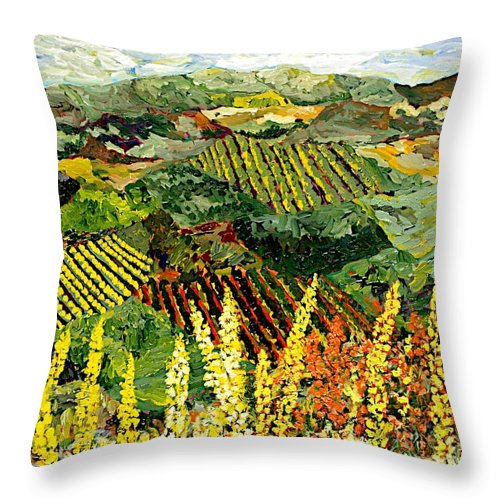 Landscape Throw Pillow featuring the painting Just A Little Valley by Allan P Friedlander